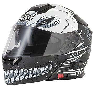 Cascos de moto con Bluetooth VCAN V127 Hollow Blinc Bluetooth, cascos abatibles, cascos negro