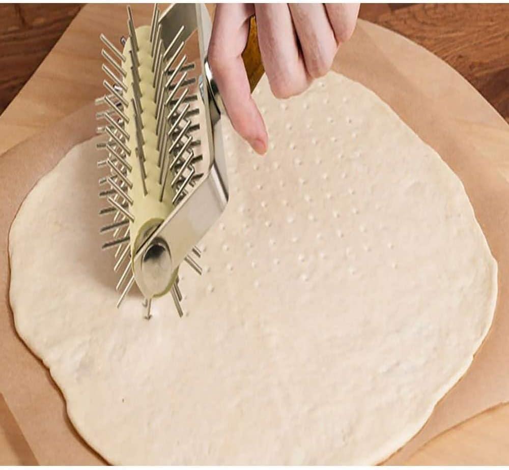 manico in legno in acciaio inossidabile Rullino per pizza pasta Docker perforatore per pizza Killer Blister per assassino per torta Rullo Docker spinato