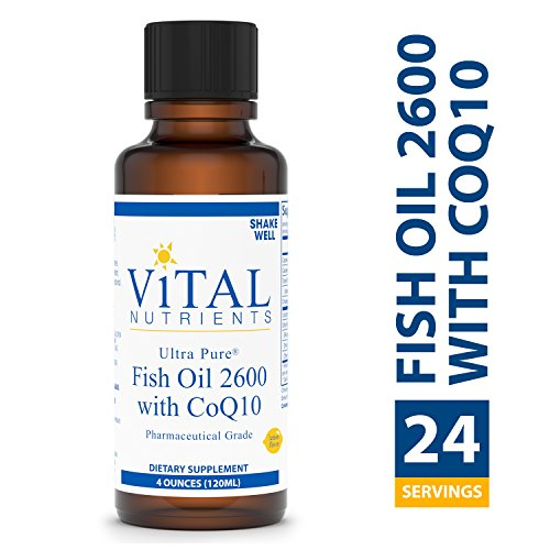 Vital Nutrients - Ultra Pure Fish Oil 2600 with CoQ10 - Hi-Potency Deep Sea Liquid Fish Oil with CoQ10, Cardiovascular Support, Natural Lemon Flavor - 4 fl oz per Bottle