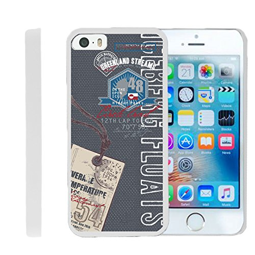 MINITURTLE Case Compatible w/ Apple iPhone SE | iPhone 5 and 5s Case | Design on White Cover, Full Body Armor Hard Protector Case w/ Image Design Greenland Vintage Tag Greenland Body