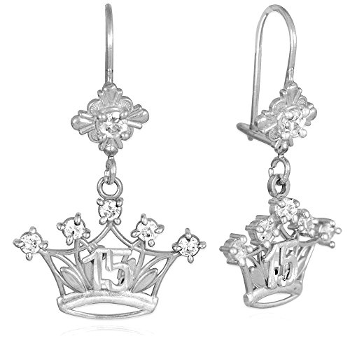 10k White Gold CZ-Studded Crown Sweet 15 Años Quinceanera Earrings
