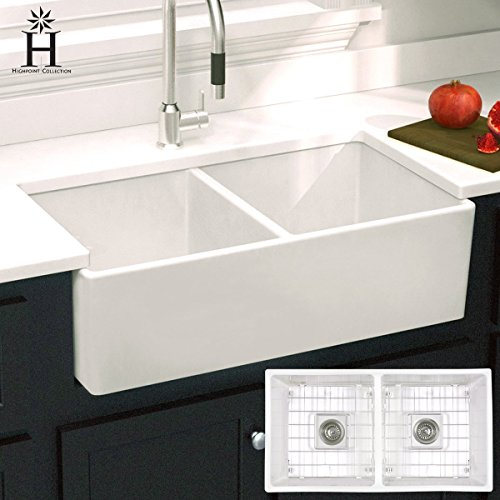 Fireclay Double Bowl Farmhouse - Highpoint Collection 33-inch Double Bowl Fireclay Farmhouse Kitchen Sink with Grids and Drains