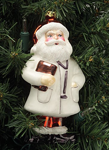 Doctor Santa Ornament - Glass Handpainted