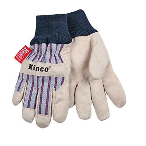 Leather Chore Glove (KINCO 1927KW-C Lined Ultra Suede Cold Weather Glove with Knit Wrist, Ages 3-6, Child, Golden)