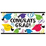 "Congrats Grad! Graduation Party Large Banner Decoration, Plastic, 65"" x 33"""