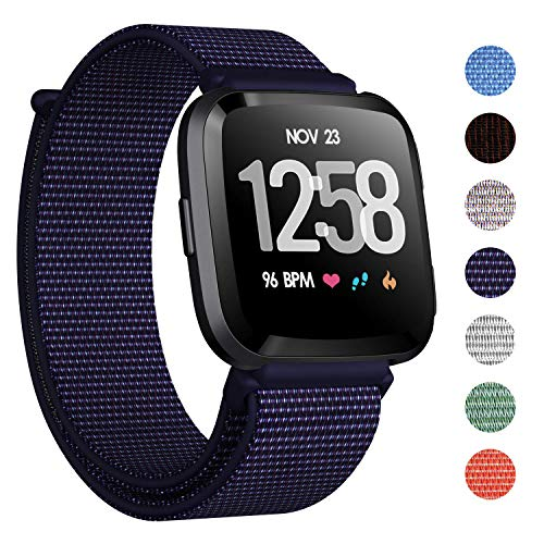 CAVN Nylon Bands Compatible with Fitbit Versa/Versa Lite Bands for Women Men, Breathable Watch Strap Adjustable Closure Replacement Wristband Accessories (Indigo Blue)