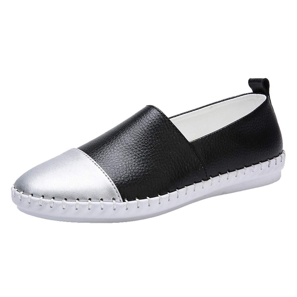 Clearance! Swiusd Womens Girls Patchwork Color Single Shoes Comfy Flat PU Leather Shallow Loafers Soft Casual Sandal Shoes (Black, 6) by Clearance! Swiusd