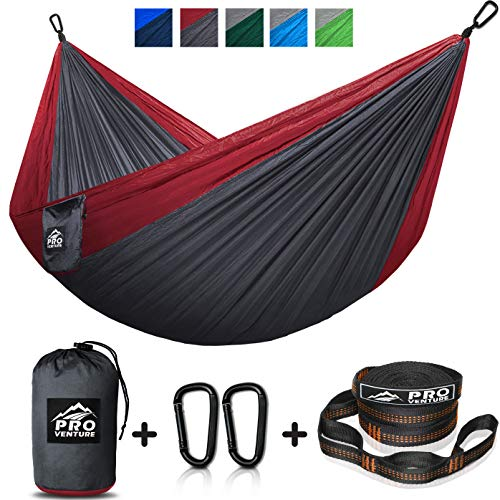 Double and Single Camping Hammocks – Hammock with Free Premium Straps Carabiners – Lightweight and Compact Parachute Nylon. Backpacker Approved and Ready for Adventure