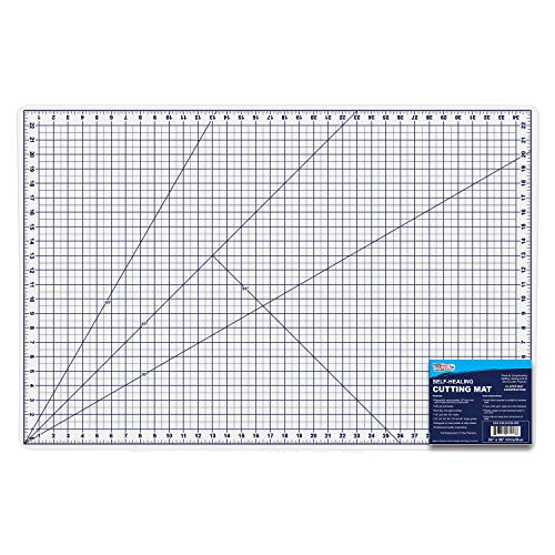 U.S. Art Supply 24″ x 36″ WHITE/BLUE High Contrast Professional Self Healing 6-Layer Double Sided Durable Non-Slip PVC Cutting Mat Great for Scrapbooking, Quilting, Sewing and all Arts & Crafts Projects