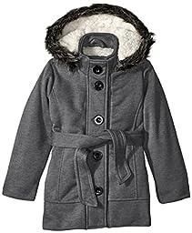 Limited Too Little Girls\' Belted Fleece Jacket, Charcoal, 4