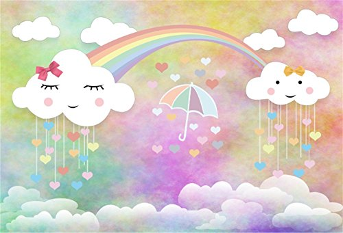 Laeacco Sweet Smiling Bowknot Coluds Backdrop 7x5ft Vinyl Pastel Abstract Ombre Colorful Background Rainbow Cute Clouds Umbrella Hearts Photography Background Baby Birthday Party Banner Cake Smash (Ivy Umbrella)