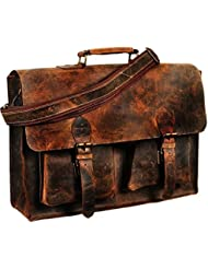 MESSENGER BAG RETRO BUFFALO HUNTER LEATHER LAPTOP MESSENGER BAG OFFICE BRIEFCASE COLLEGE 16 INCH by VINTAGE COUTURE