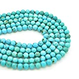 Bluejoy Genuine Natural American Turquoise Round Bead 16 inch Strand for Jewelry Making (7mm)