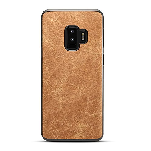 Case Protector Faux Leather (HONTECH Galaxy S9 case, Vintage Hard PU Leather Ultra Slim Protector Cover for Samsung Galaxy S9 (Brown))