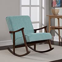 Modern Rocking Aqua Blue Fabric Mid Century Wooden Rocker Chair Nursery Baby Retro Blue