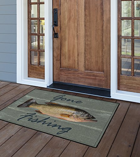 Fly Fishing Rug - Brumlow Mills EW10079-30x46 Gone Fishing Rustic Kitchen and Entryway Rug, 2'6
