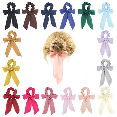 SUSULU 16pcs Bow Scrunchies for Hair Chiffon Hair Ties Solid Color Bow Scrunchies Women's Ponytail Accessory
