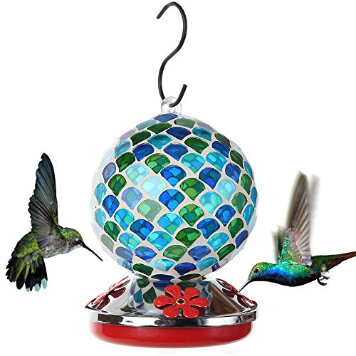 Lily's Home Mosaic Glass Hanging Hummingbird Feeder, with Hanging Hook. Blue, 20 Ounce