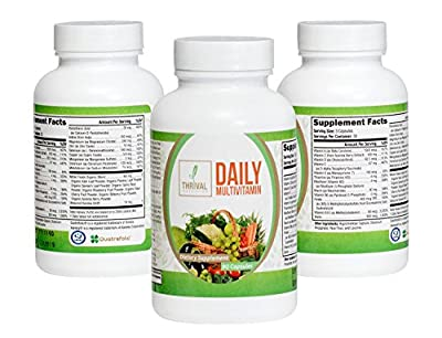 Daily Multivitamin by Thrival Nutrition | Supplement for Men and Women + Bioavailable Nutrients + Certified Gluten-Free + Organic Whole Foods Blend | Made in USA, 90 Count
