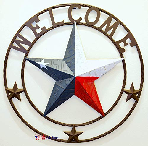 BestGiftEver Metal Circled Star with Welcome Sayings - License Plate Embossed Red White Blue Star Wall Hanging Decoration Welcome Sign Front Door Porch (Summer Door Front For Ideas Decoration)