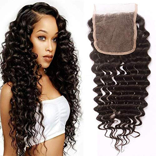 (10A Brazilian Deep Wave Sew in Lace Closure 100% Virgin Human Hair Lace Closure Free Part Natural Color 10 Inch)