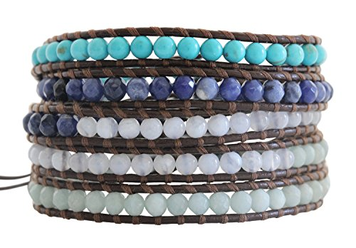 Chan Luu Blue Mix Brown Leather Wrap Bracelet bs-2213 by Chan Luu
