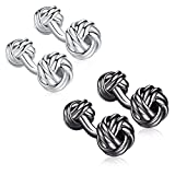 Honey Bear Twist Knot Cufflinks - Stainless Steel For Men's Shirt Wedding Business Gift (2 pairs with box)