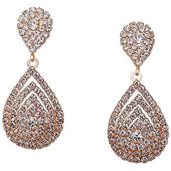 Wedding Earrings Rose Gold Plating Teardrop Dangle Earrings