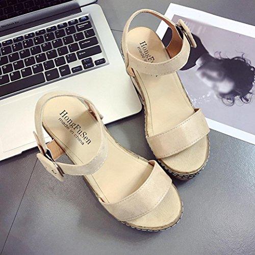 DEESEE(TM) New Arrivals Women Girls Fish Mouth Platform High Heels Wedge Sandals Buckle Slope Sandals Beige lySkO2gUzM