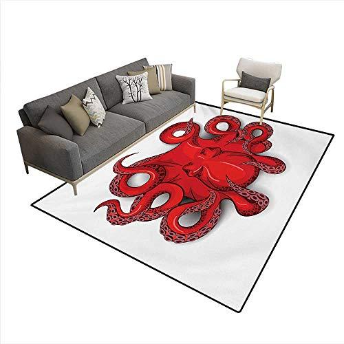 Floor Mat,Kraken Octopus Shadow Tropical Seafood Marine Tentacle Simple Design Artwork Print,Rugs Bedroom,Red,6'x9'