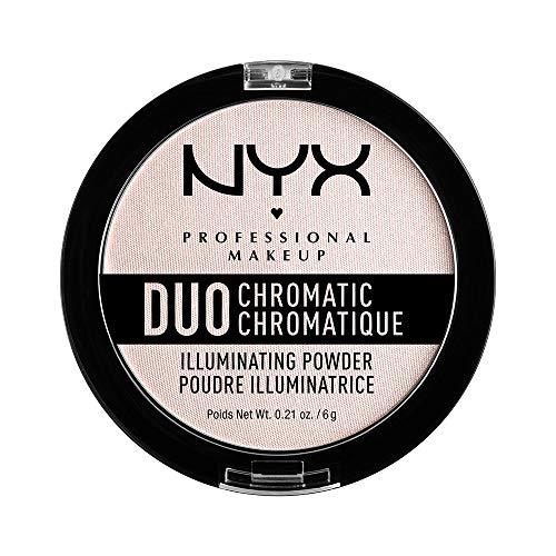 NYX PROFESSIONAL MAKEUP Duo Chromatic Illuminating Powder, Snow Rose, 0.21 Ounce (Highlighter Makeup Powder)
