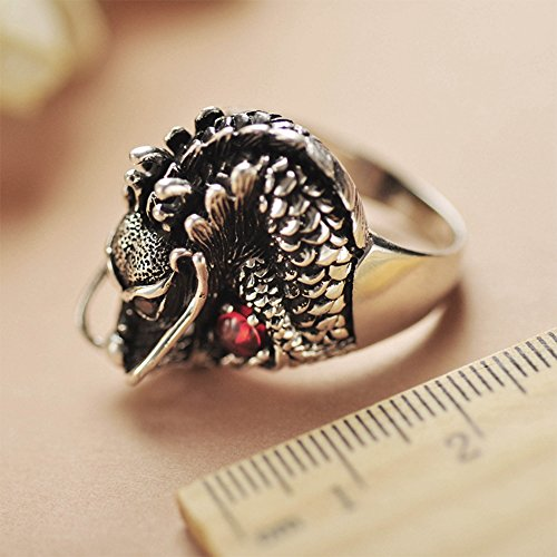 MetJakt Vintage 925 Sterling Silver Domineering Dragon Ring with Ruby Punk Rock Rings for Men's Fine Jewelry (12) by MetJakt (Image #5)