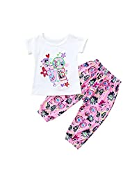 Vincent&July Baby Girl Letter Stitchwork Tops T-Shirt+Floral Pants Clothes Set