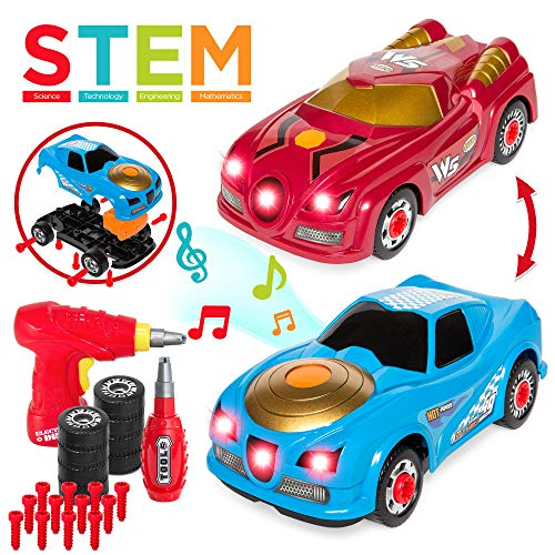 - Best Choice Products 26-Piece 2-in-1 Kids Interactive Educational STEM Modification Take Apart Car Racer Toys w/ Sounds, Lights, 2 Car Bodies, Electric Drill Tool, Screwdriver - Multi