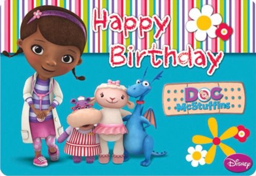 CAKEUSA Doc McStuffins Characters Cast Birthday Cake Topper Edible Image 1/4 Sheet Frosting]()