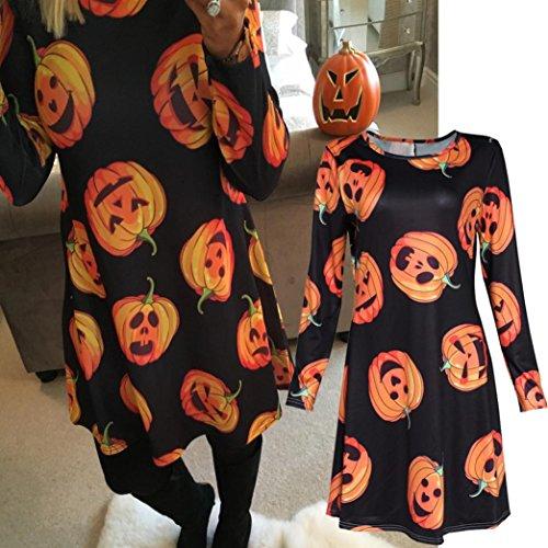 Women Mini Dress, Franterd Halloween Pumpkin Skull Print Long Sleeve Swing Dresses (XL, Black 2) (Woman Halloween)