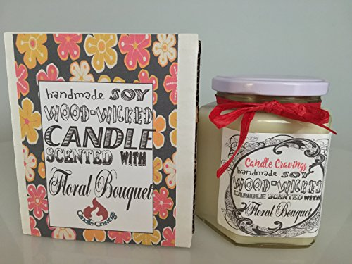Floral Bouquet Scented Soy Container Candle With Wood Wick 12 Oz US Handmade