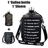 QuiFit 1 Gallon Water Bottle Reusable Leak-Proof Drinking Water Jug for Outdoor Camping BPA Free Plastic Sports Water Bottle with Daily Time Marked (Black+Bag)