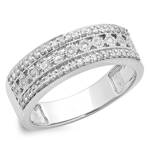 0.35 Carat (ctw) 10K White Gold White Diamond Anniversary Wedding Stackable Band 1/3 CT (Size 5.5)