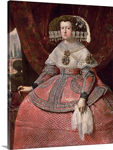 Queen Maria Anna of Spain in a red dress, 1655-60 (oil on canvas) Gallery-Wrapped Canvas by greatBIGcanvas