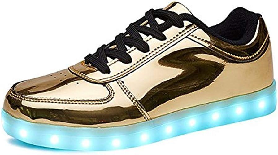DIYBESTGIFT LED Schuhe Kinder Damen 7 Farbe USB Aufladen Leuchtend Sportschuhe LED Kinder Farbwechsel Sneaker Turnschuhe für Herren Damen