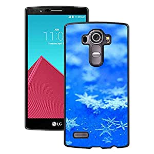 Beautiful LG G4 Cover Case ,Icy Snowflake Flower Pure Blue Background Black LG G4 Phone Case Unique And Durable Designed Screen Case