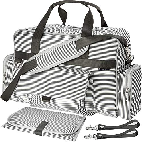 Diaper Bag | Baby Tote Bags | Waterproof | Unisex | Gray and Cream Stripe by O'beanie ()