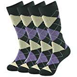 SUTTOS Men's Casual Custom Elite Funky Valentine's Day Gift Patterned Crew Dress Socks 4 Pair Purple/Blk,Size 6-12, Valentine's Day Gift Mid Calf Length Dress Suit Socks