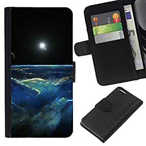 Apple iPhone 5C , la tarjeta de Crédito Slots PU Funda de cuero Monedero caso cubierta de piel ( Universe Galaxy Planet Clouds Sun Moon)