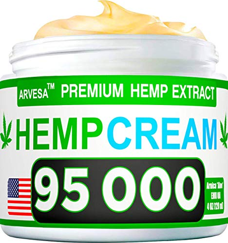 Hemp Pain Relief Cream - 95 000 MG - Natural Hemp Extract Relieves Inflammation, Knee, Muscle, Joint & Back Pain - Contains Arni