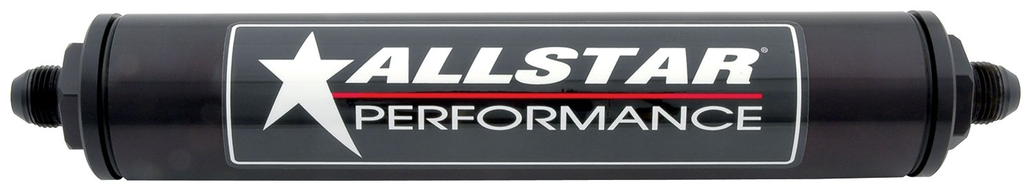 Allstar ALL40245 Black 12' Long x 2' Diameter Anodized Aluminum -10 AN Inlet/Outlet In-Line Fuel Filter Housing Allstar Performance