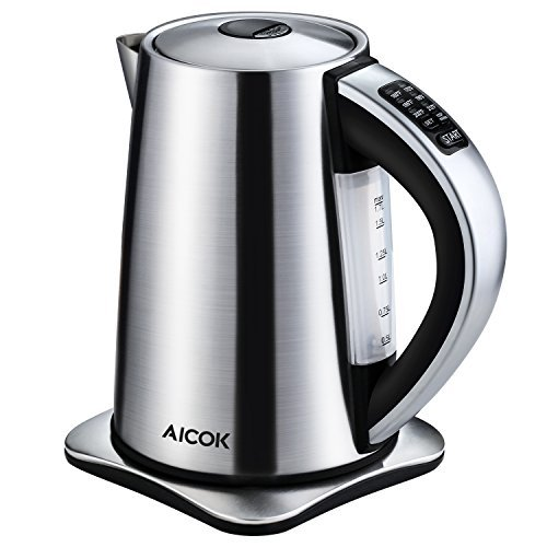 Aicok Electric Kettle 6-Temperature Control and Keep Warm Function, 1.7Liter Brushed Stainless Steel Kettle Fast Boil Tea Kettle 1500W, Auto Shut Off Boiler