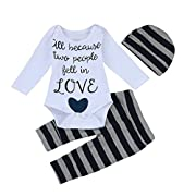 3Pcs Cute Newborn Infant Baby Boys Letter Romper Tops+Striped Pants Cap Outfits Set (0-3 Months, Gray)