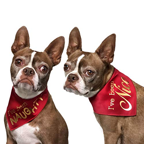 Tail Trends 2 Pack Christmas Dog Bandana Santa Claus Naughty or Nice List Fits Medium to Large Sized Dogs - 100% Cotton